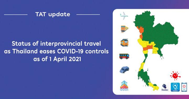 Bangkok : Updated status of interprovincial travel in Thailand as of 1 April 2021