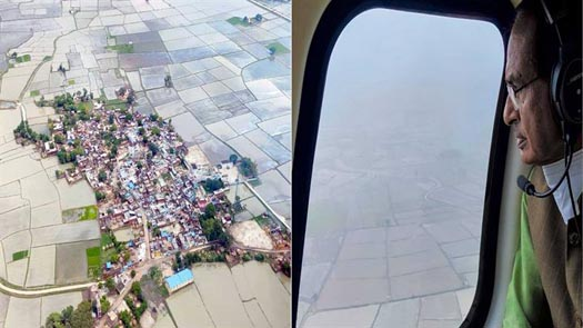 मुख्यमंत्री चौहान ने हवाई दौरा कर ग्वालियर-चंबल संभाग के लगभग चार दर्जन बाढ़ प्रभावित गाँवों का लिया जायजा